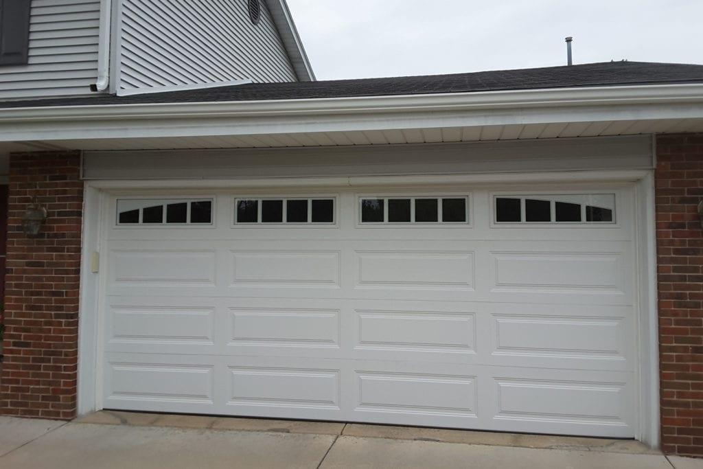 closeup of a white garage door